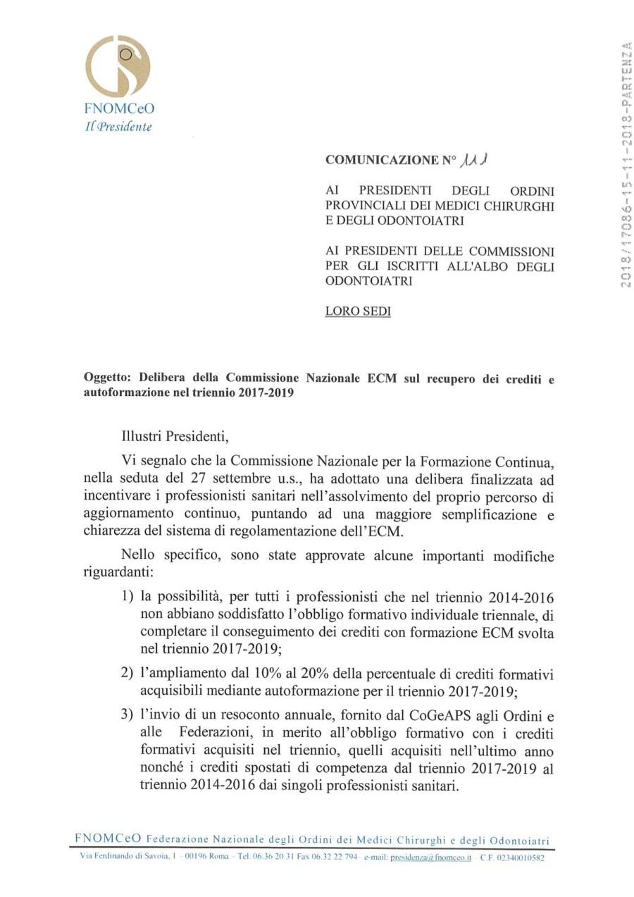 1 COM. N. 111_Delibera Comm. Naz.le ECM recupero crediti autoformazione triennio 2017-2019_Prot. 17086_15-11-2018