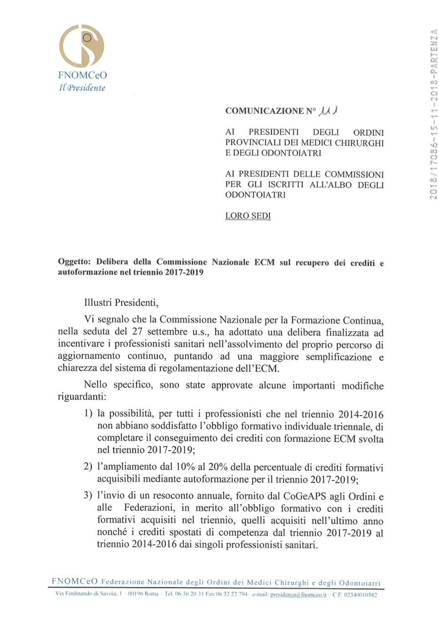 3 COM. N. 111_Delibera Comm. Naz.le ECM recupero crediti autoformazione triennio 2017-2019_Prot. 17086_15-11-2018