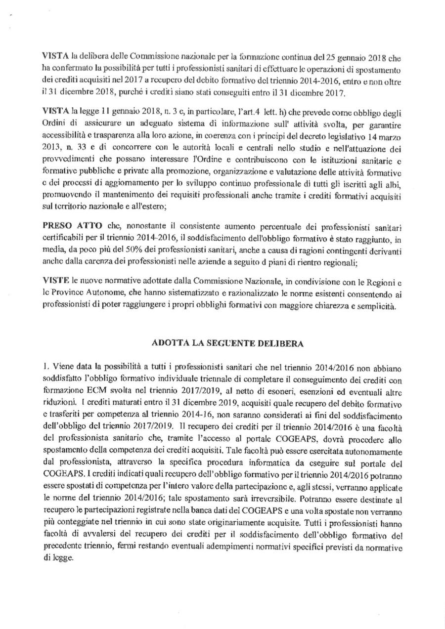 4 COM. N. 111_Delibera Comm. Naz.le ECM recupero crediti autoformazione triennio 2017-2019_Prot. 17086_15-11-2018